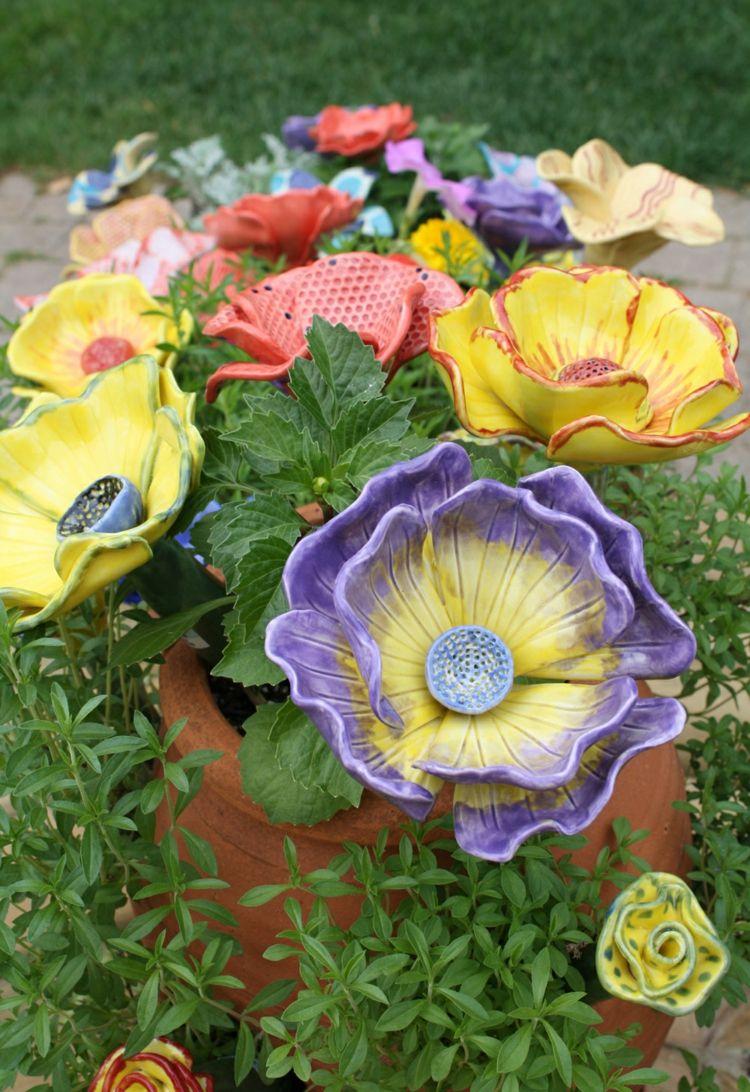 Gartenkeramik t pfern blumen blumentopf dekoration bunt for Blumentopf dekoration
