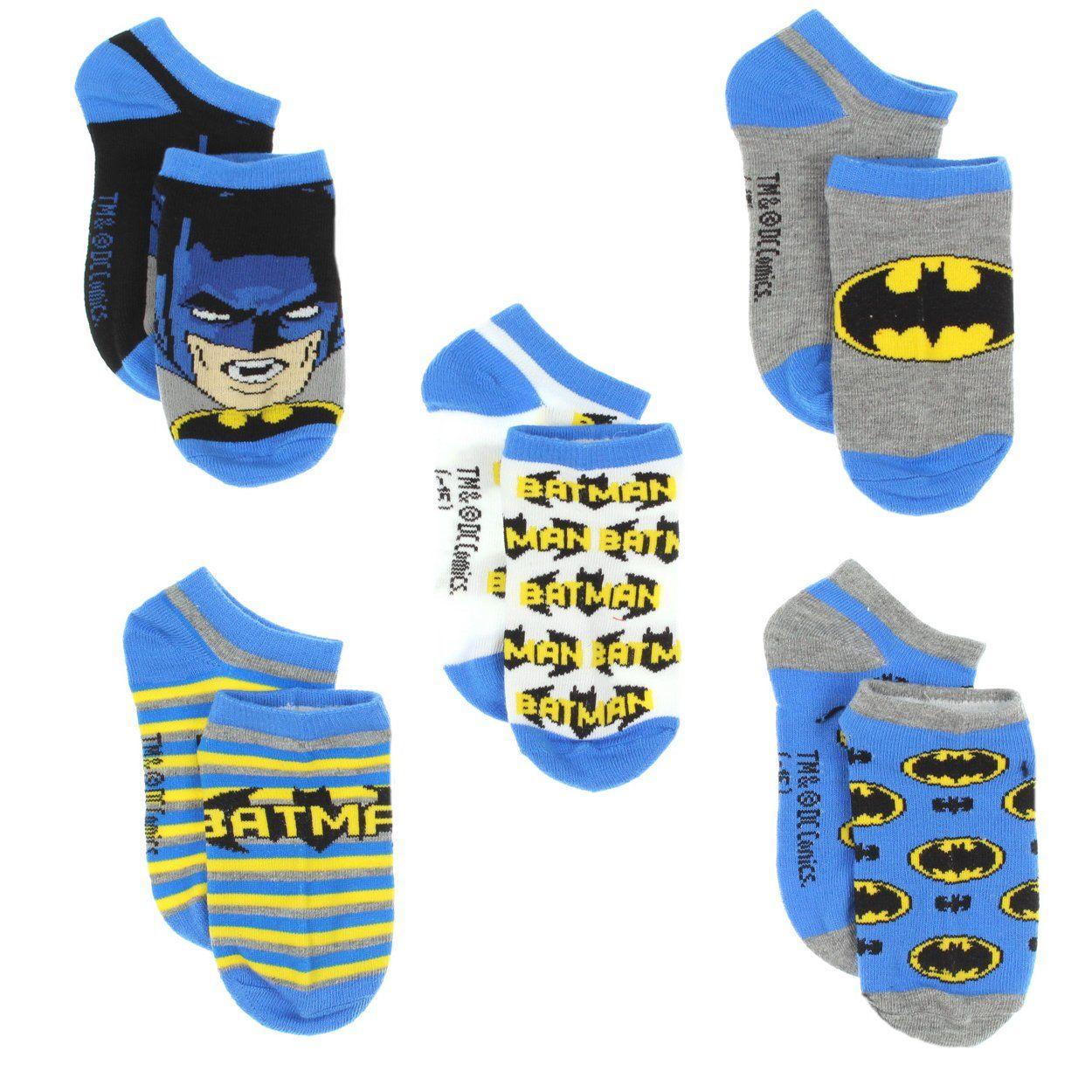 DC Comics Boys Superhero 5-Pack No Show Socks