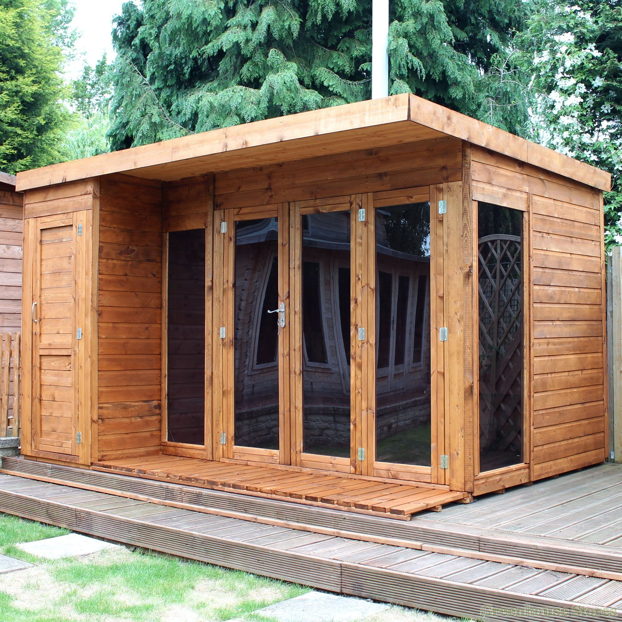 Cotswold 12x8 Modern Garden Room With Side Shed | Greenhouse Stores