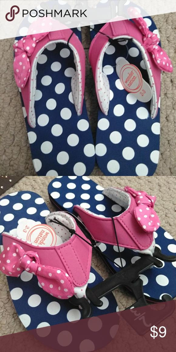 2e707ebc3 Flip flops Navy blue polka dotted flip flops with a pink bow. Super cute. NWT  wonder nation Shoes Sandals   Flip Flops