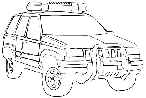 Jeep Police Car Coloring Page
