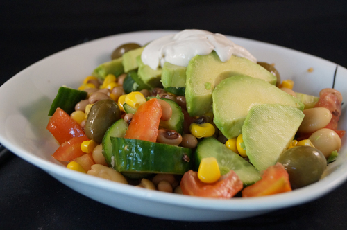 Avocado and Mixed Bean Salad topped with Tahini | This Is My Inspiration  @ http://www.heavensgreens.com/ vegetarian