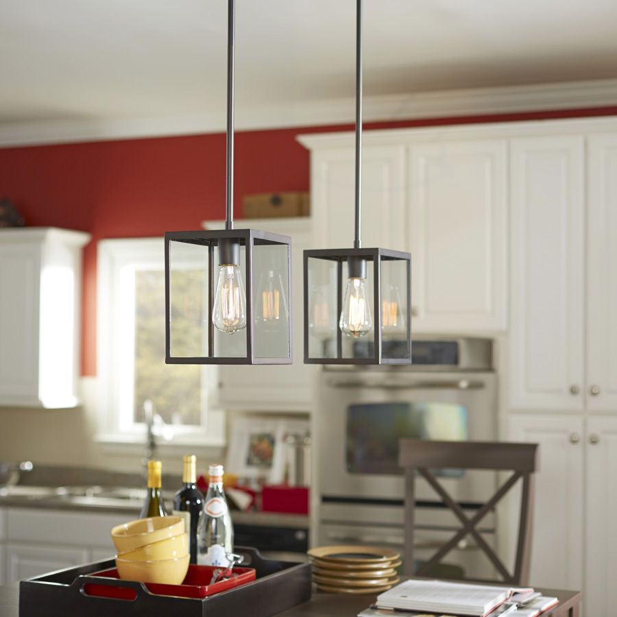 Shop Allen + Roth Bristow 6.5 In Oil Rubbed Bronze Industrial Mini Clear  Glass Rectangle Pendant At Lowes.com