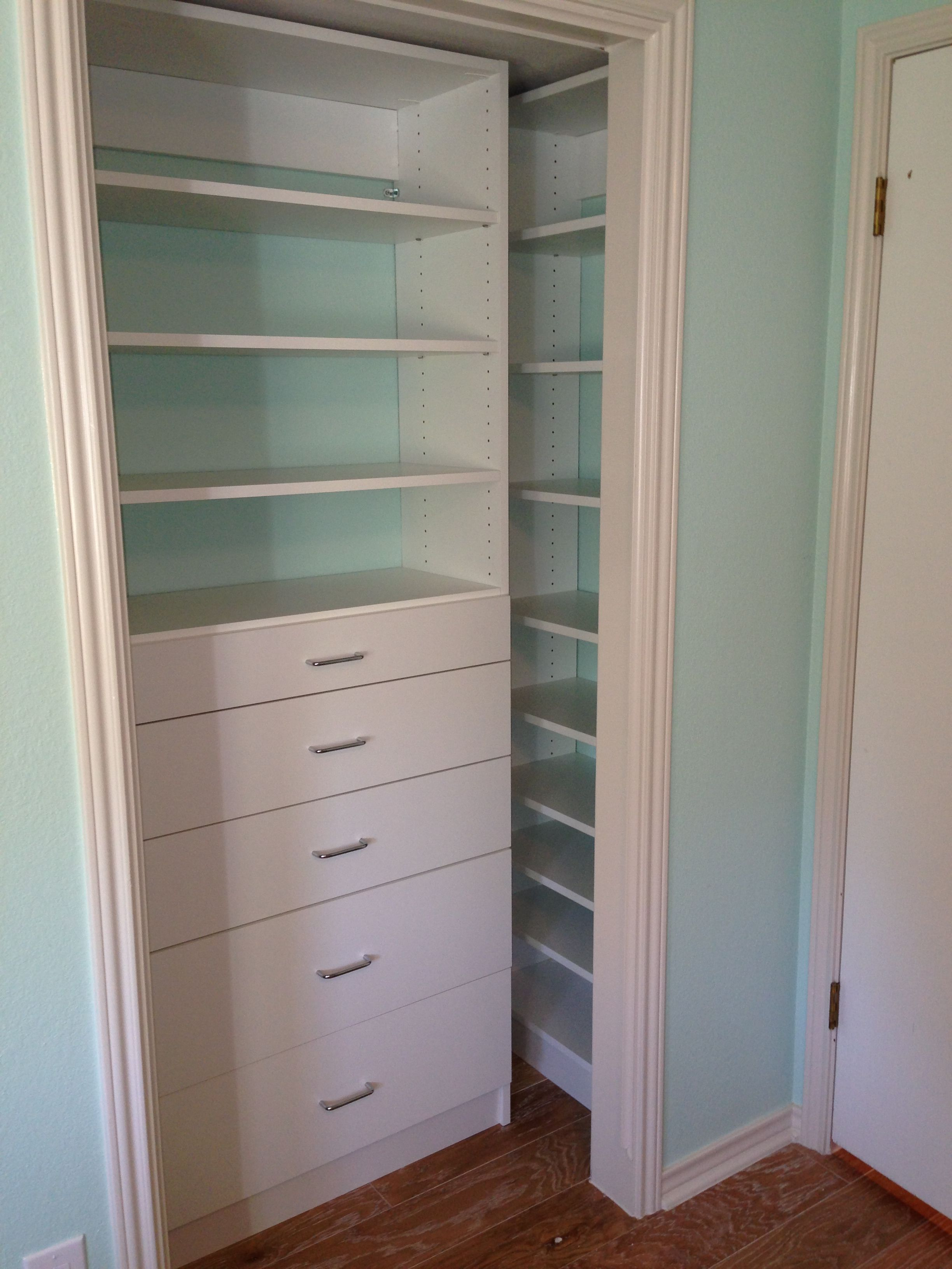 Reach In Closet System With Drawers And Shelves. Wide Drawers Through Door  Opening With Shelving