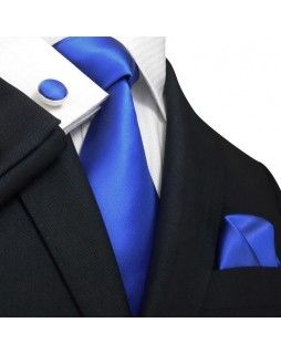 TheDapperTie - New Men's Royal Blue Solid Silk Tie Set 33M