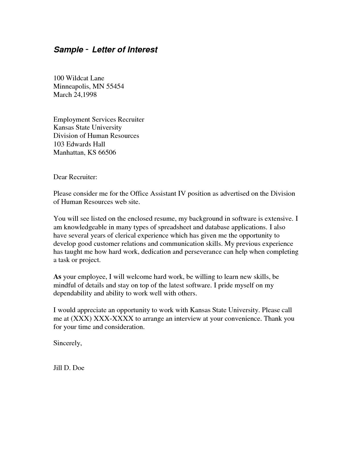 Letter Of Interest For Job Template
