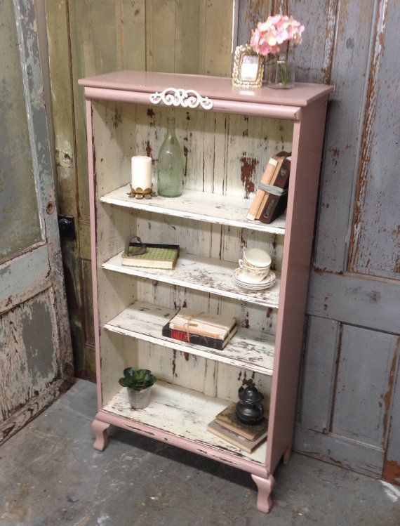 Pink Shabby Chic Bookshelf Painted Distressed Furniture Antique Bookcase Country Cottage Style And