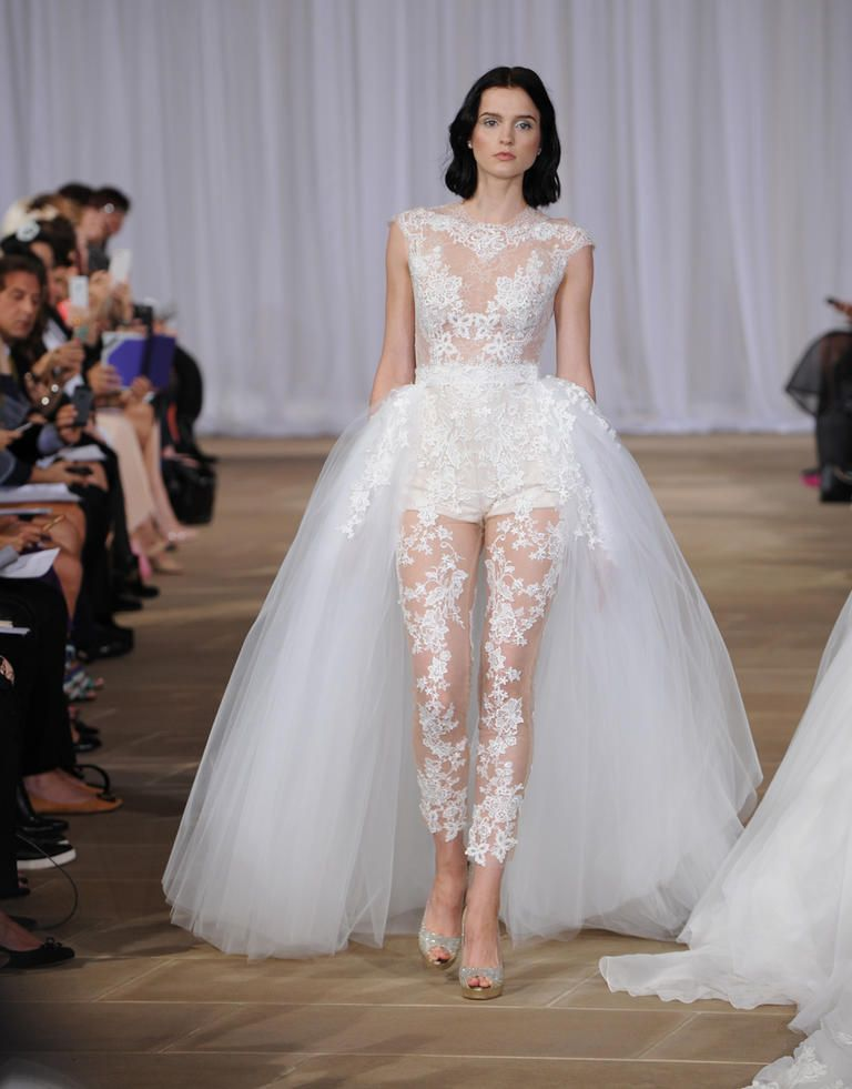 f93500f615f Get the Look  Whitney Port s Chic High-Low Wedding Dress. Ines Di Santo  Spring 2016 illusion body suit with lace applique and detachable tulle ...