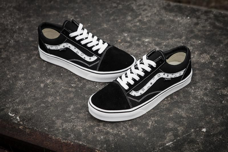 640daabc69a18a Vans X Champion X Supreme Old Skool Classic Black Red True White Mens Shoes