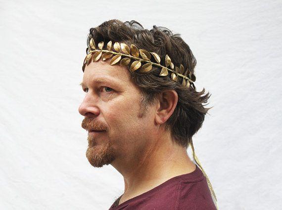 Golden Leaf Mens Adult Greek Roman Ruler Costume King Crown
