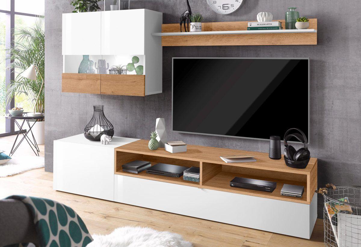 tecnos wohnwand wei negroni hochglanz fronten fsc. Black Bedroom Furniture Sets. Home Design Ideas