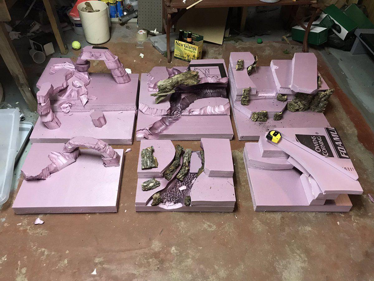Game terrian made with pink closed cell foam sheets. Game Terrain, 40k Terrain, Wargaming Terrain, Bearded Dragon Habitat, Bored Games, Diy Table Top, Warhammer 40k Figures, Warhammer Terrain, Foam Sheets #wargamingterrain