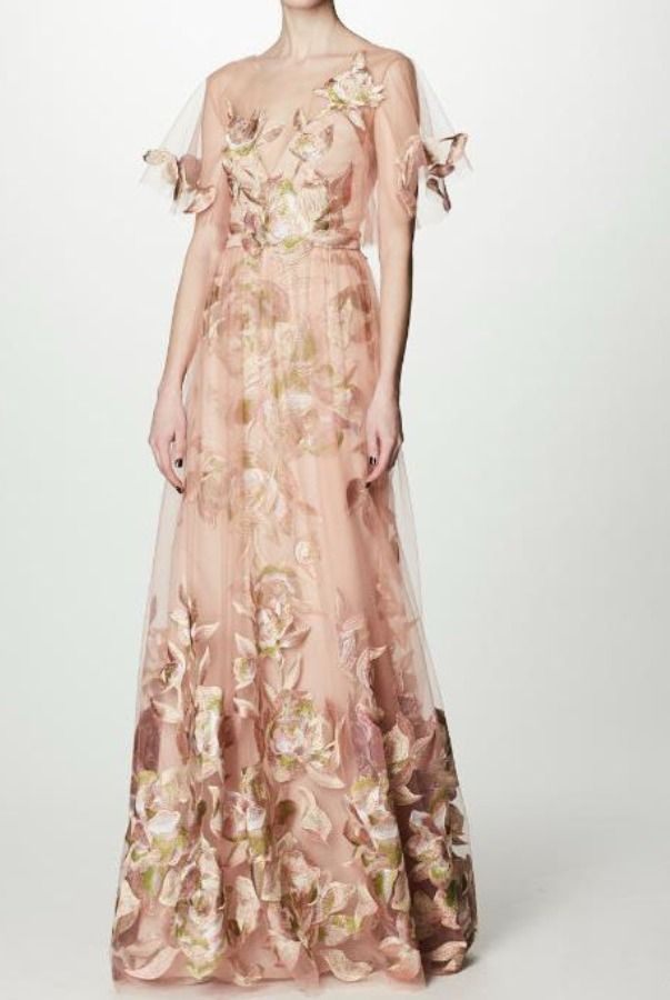 Marchesa Notte Blush Floral Embroidered Tulle Evening Gown | Poshare ...