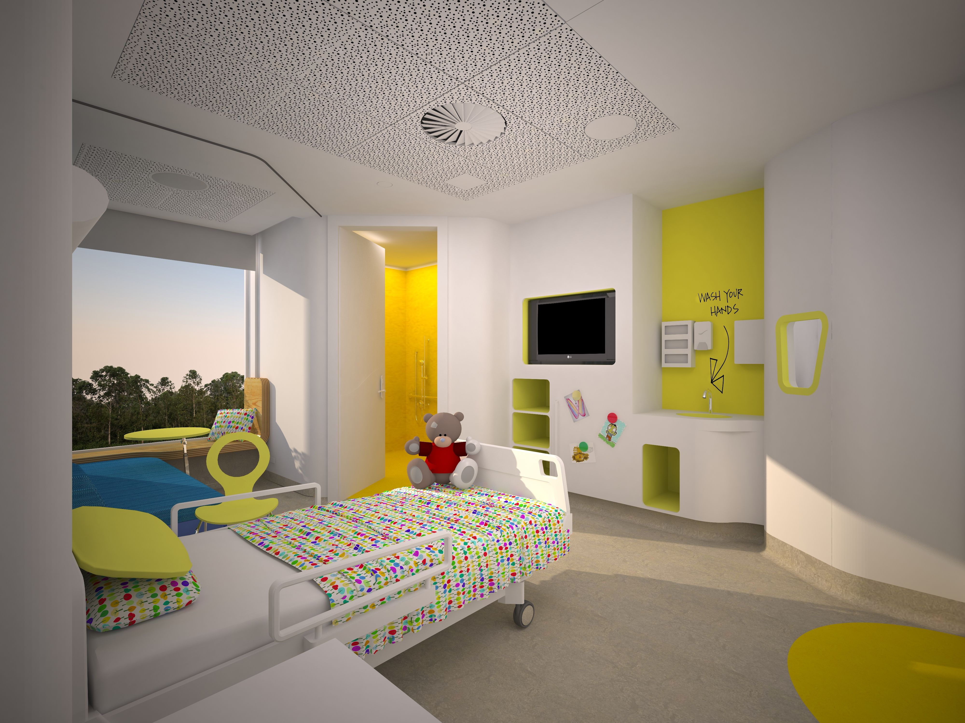 Uplifting Room Yellow And Sunny Modern Mental Hospital
