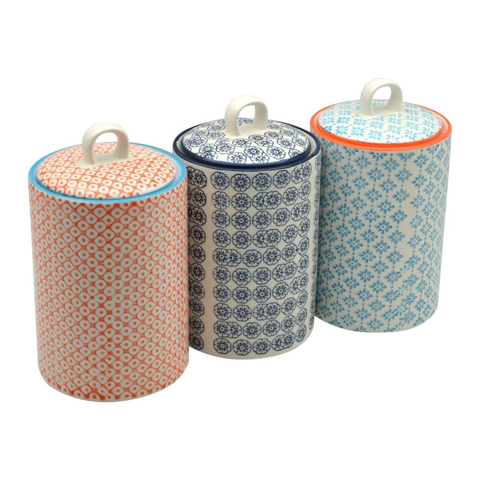 Patterned Porcelain Tea Coffee Sugar Canisters Set Of