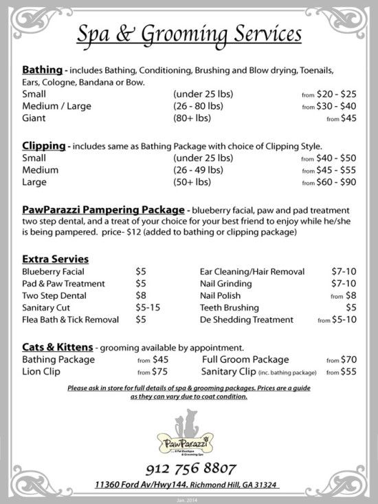 Grooming Price List  Pet Grooming  Pawparazzi Pet Boutique