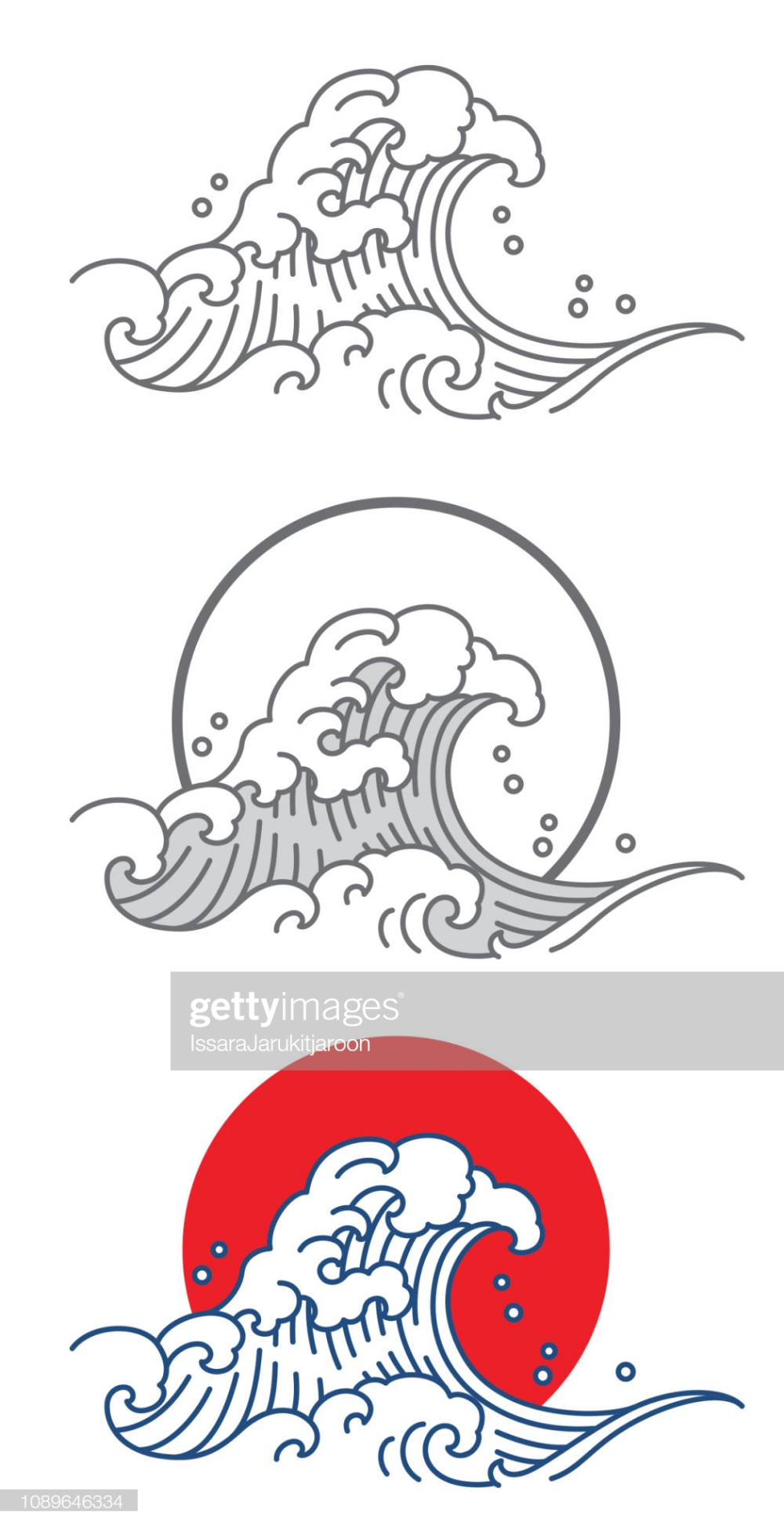 Big wave ocean vector icon. Thai. Japan. Outline & fill