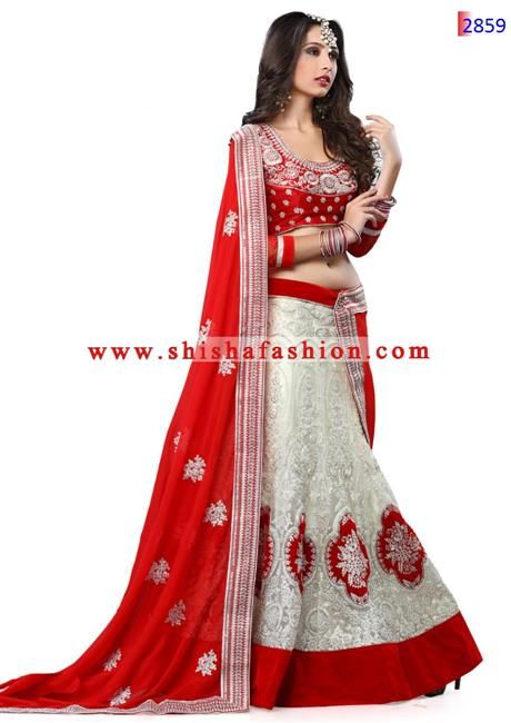 041fd398f41 FABULOUS OFF WHITE   RED COLOR WITH SOFT NET FABRIC EMBROIDERED DESIGNER  LEHENGA CHOLI