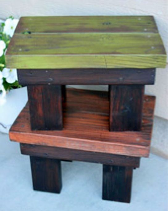 Deck Stools Or Side Tables Stained Legs Colored Stain For
