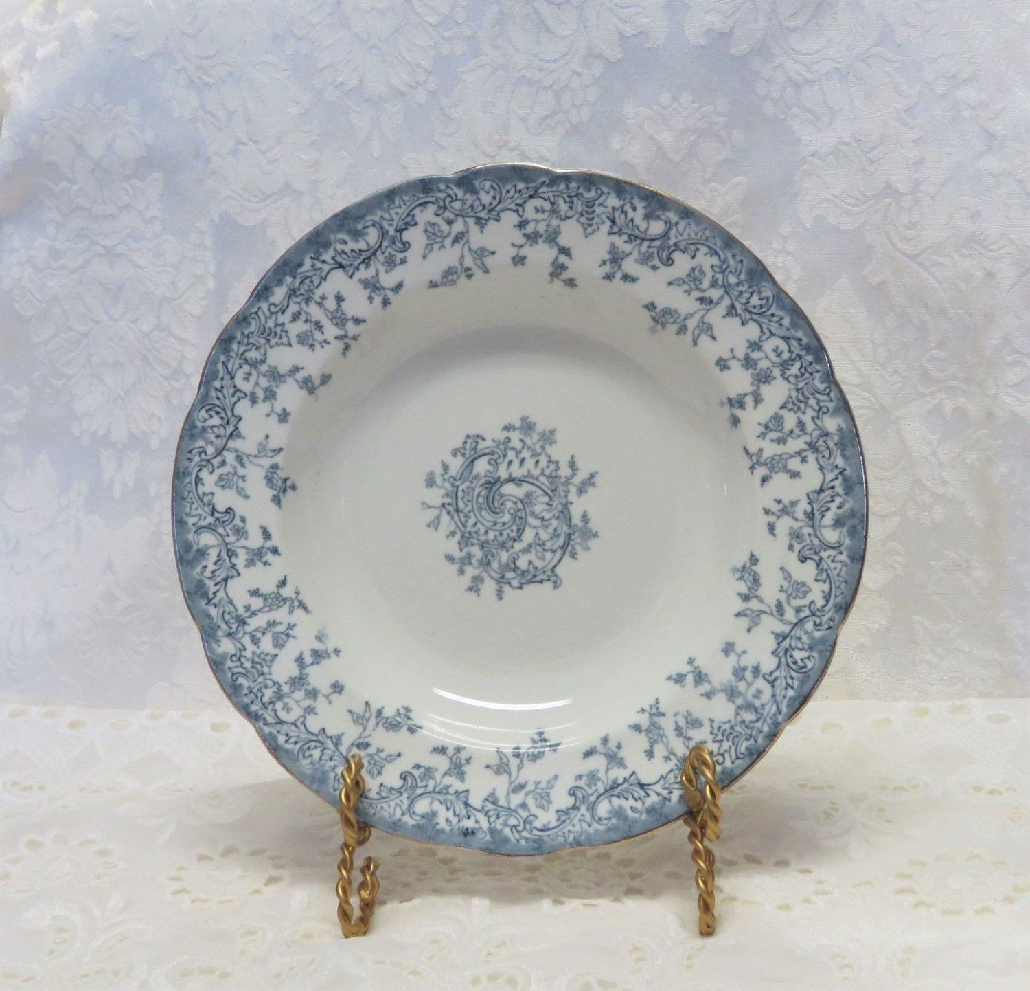 Antique French Blue Transferware Soup Bowls/ 19th Century China/ Bordeaux/ Blue and White Dishes/ Ironstone/ Set of 11  sc 1 st  Pinterest & Antique French Blue Transferware Soup Bowls/ 19th Century China ...