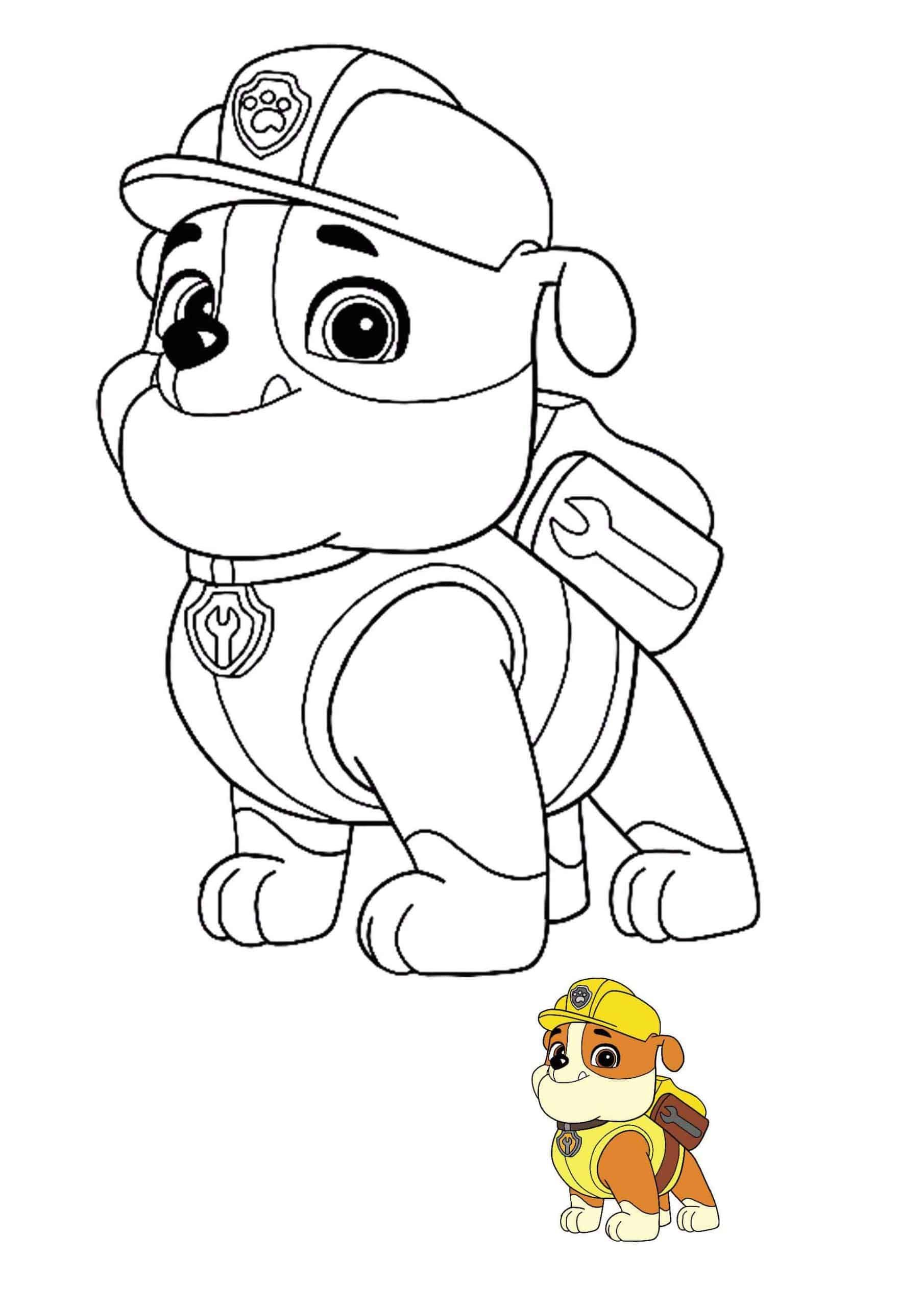 Paw Patrol Rubble Coloring Page With Preview Paw Patrol Coloring Paw Patrol Coloring Pages Paw Patrol