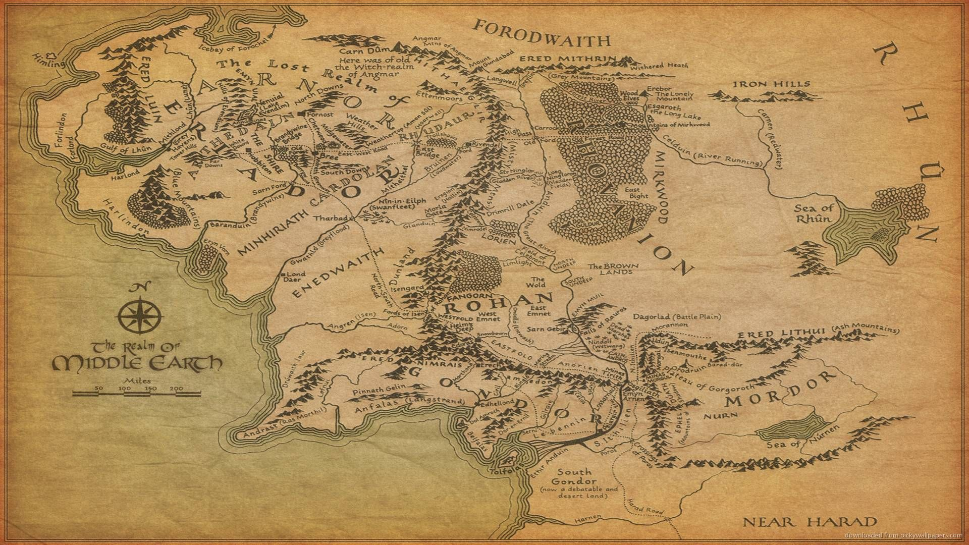 1920x1080 The Map Of Middle Earth Wallpaper Middle Earth Map