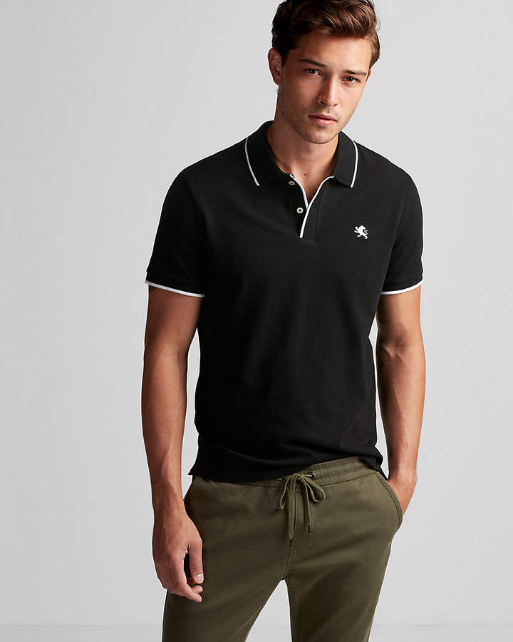 Express Solid Tipped Small Lion Stretch Pique Polo  6c4ee7d566601