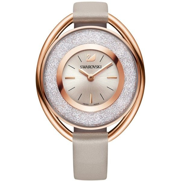 Swarovski Women's Swiss Crystalline Calfskin Leather Strap Watch 37mm (£240) ❤ liked on Polyvore featuring jewelry, watches, no color, swarovski jewellery, swarovski watches, swarovski jewelry and polish jewelry