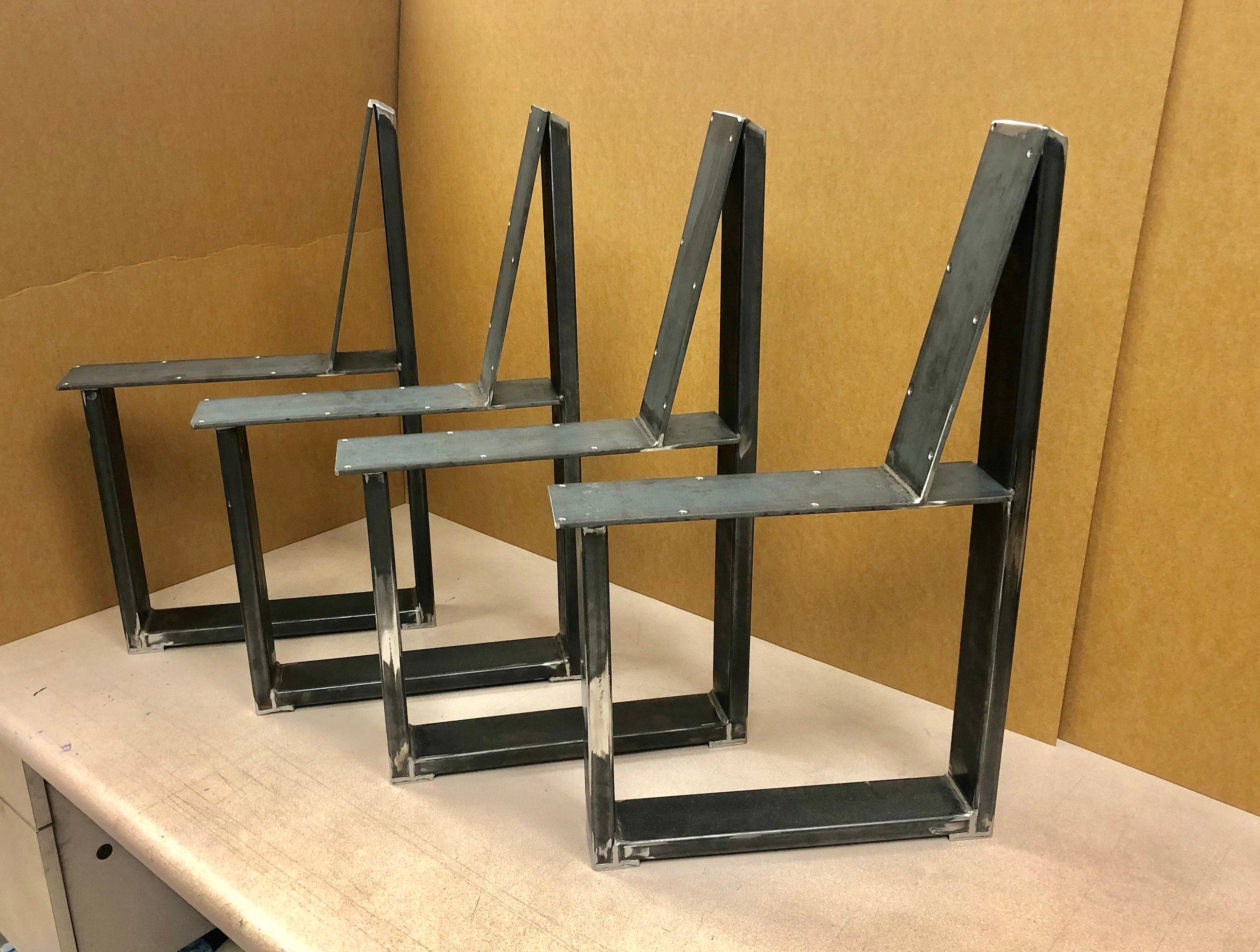 U Shaped Bench Steel Legs With Back Rest Set Of 4 Steel Bench