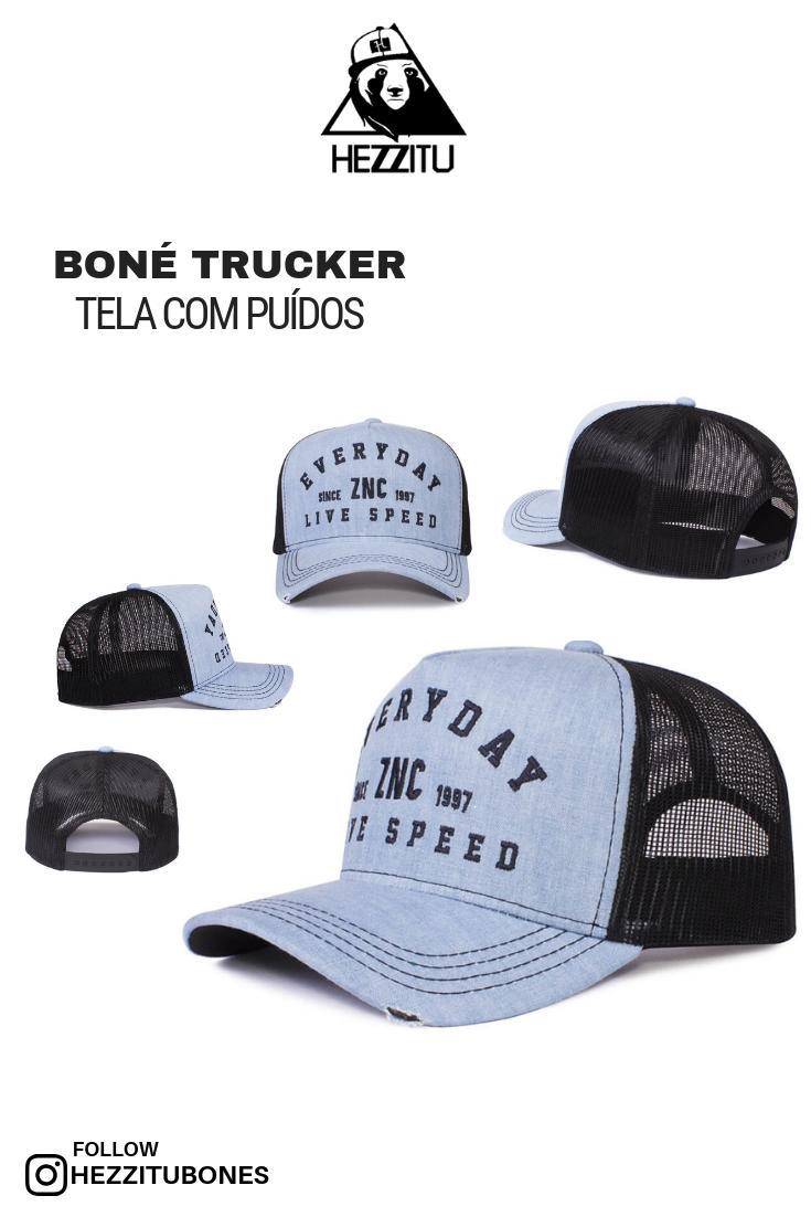 Boné trucker de tela com puídos na aba 746f39c4f07