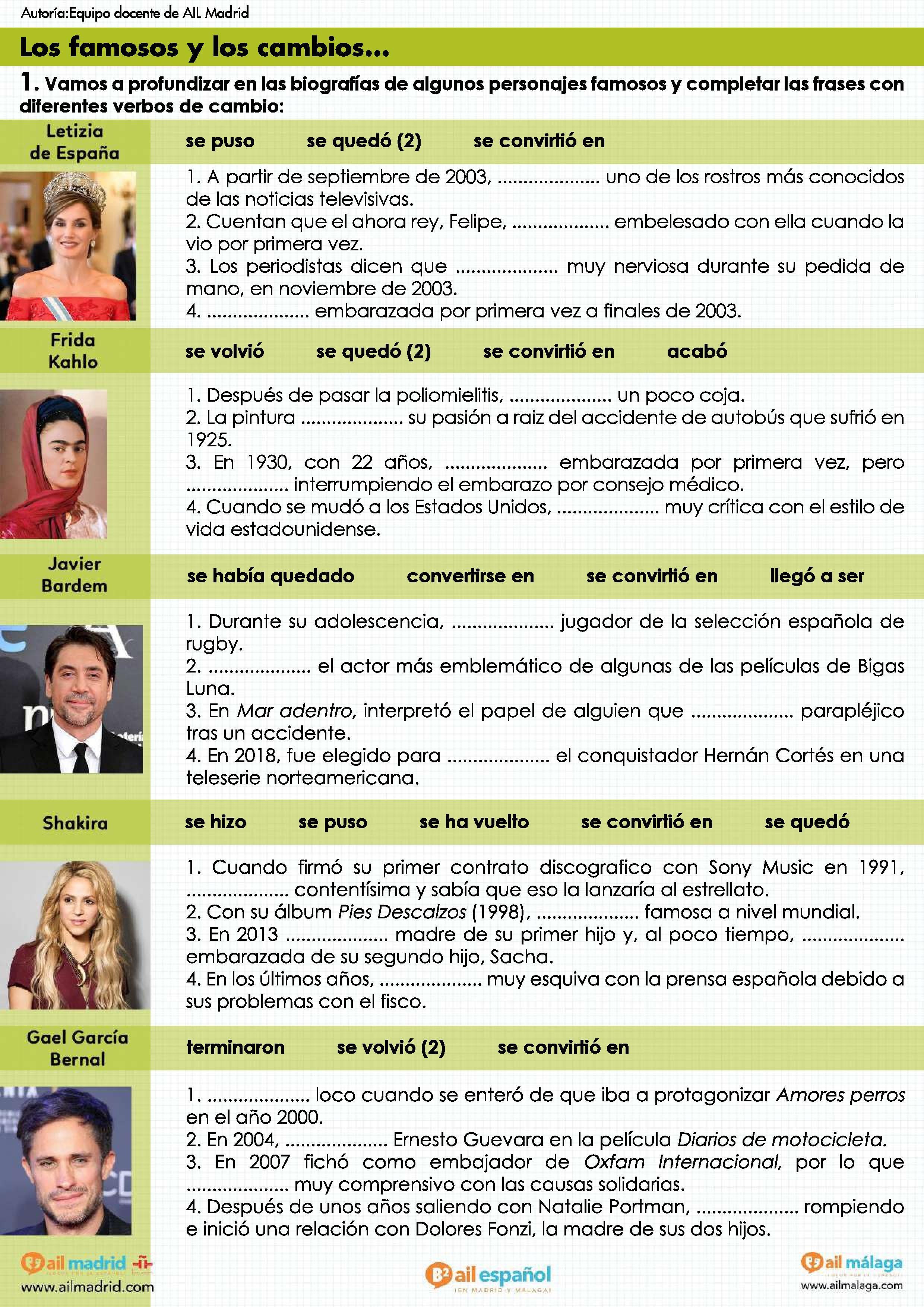 Los Famosos Y Los Cambios Nivel B2 Espagnol Apprendre Enseigner L Espagnol Grammaire Espagnole