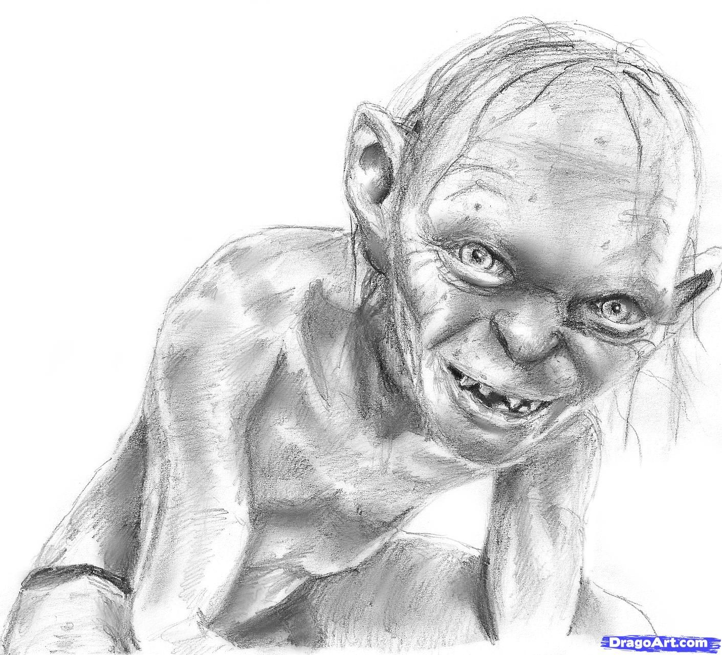 how to draw gollum step 7 | art | Pinterest
