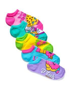 High Point Design  5-Pack Shopkins Assorted Low Cut Socks Girls 4-6x
