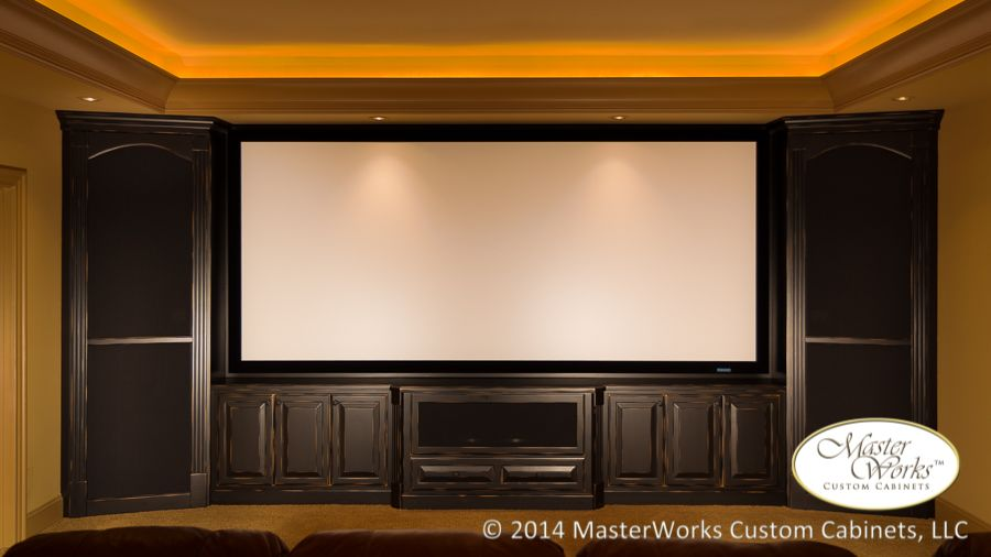 Theater 2 Custom Cabinetry In A Beautiful Black Rub Through Finish