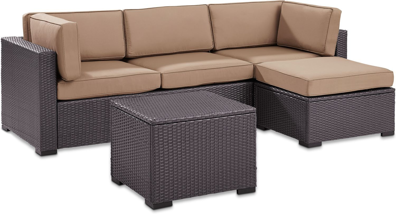 Isla 2 Piece Outdoor Sofa Ottoman And Coffee Table Set Value City Furniture And Mattresses Value City Furniture Outdoor Sofa Outdoor Patio Set