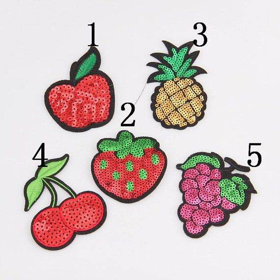 Sequins Cherry Embroidery Sew Iron On Patches Badge Bag Clothes Fabric Applique