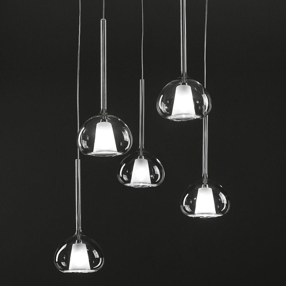 Beba 5er glas pendellampe kaskade designleuchten for Italienische design lampen