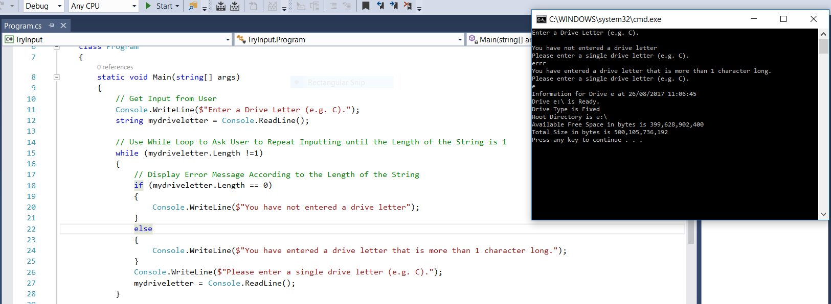 Screenshot of C# Code that uses the While Loop for Repeated