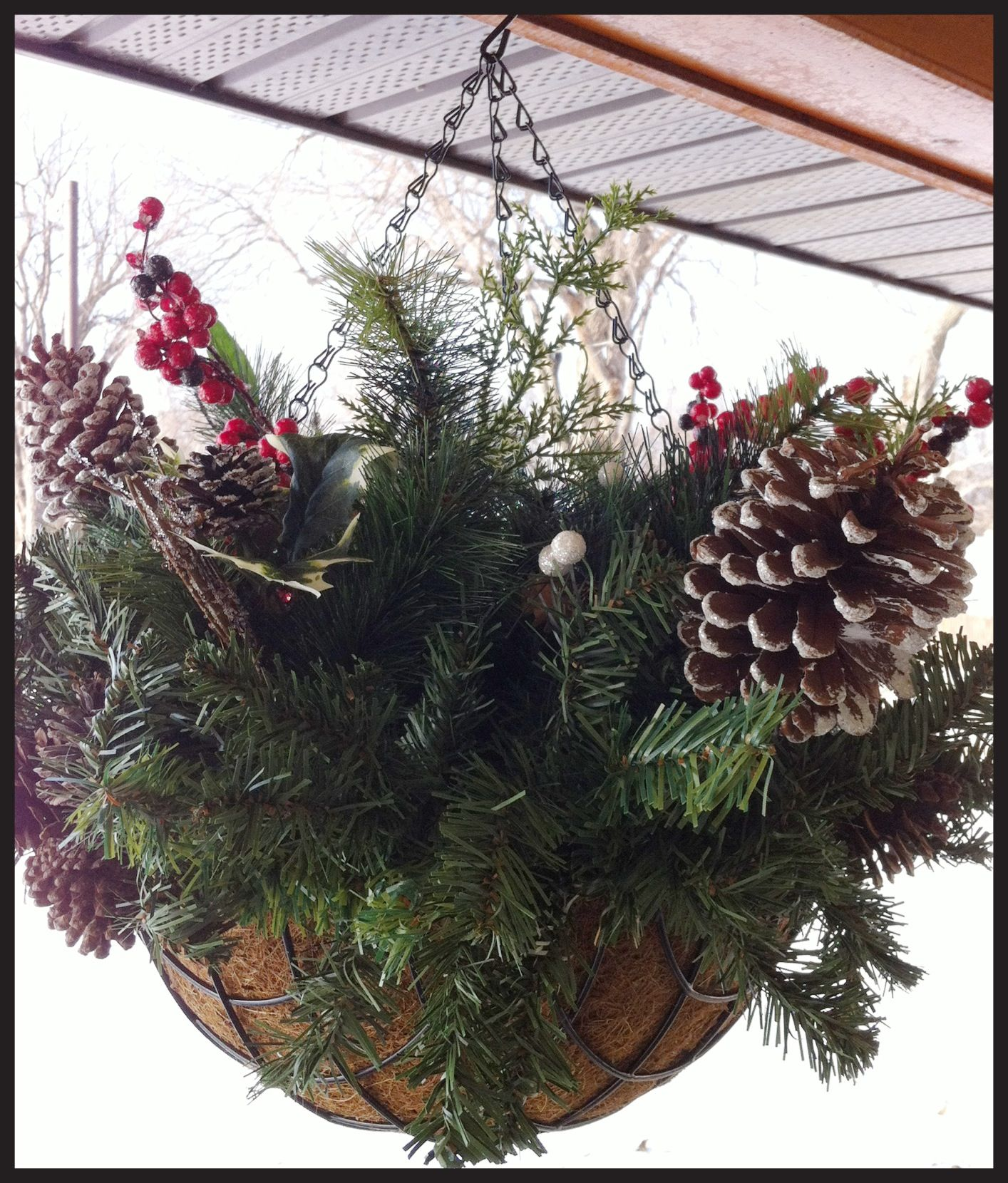 How to make hanging baskets - Christmas Hanging Baskets Really Easy To Make Artificial Greenery A Hanging Basket And