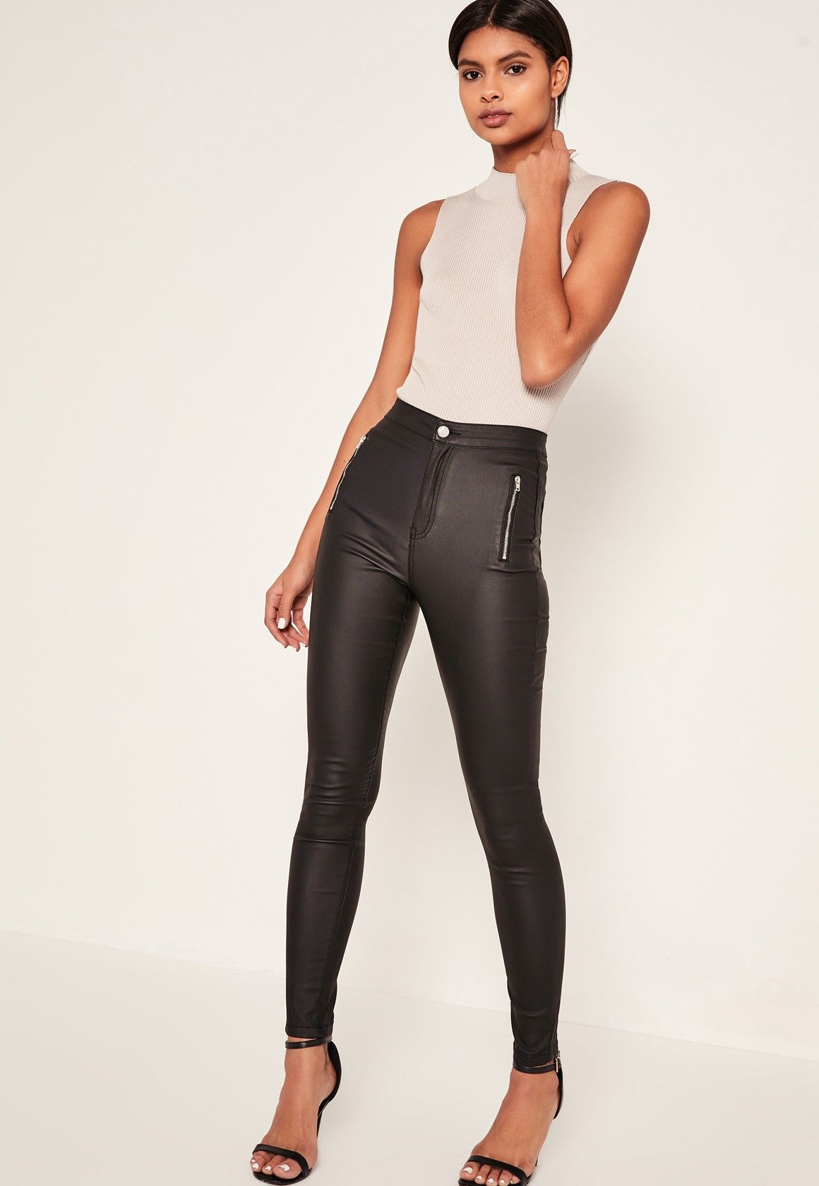 a927c3bbf3d56 4 - Missguided - Black Vice High Waisted Coated Zipped Skinny Jeans ...