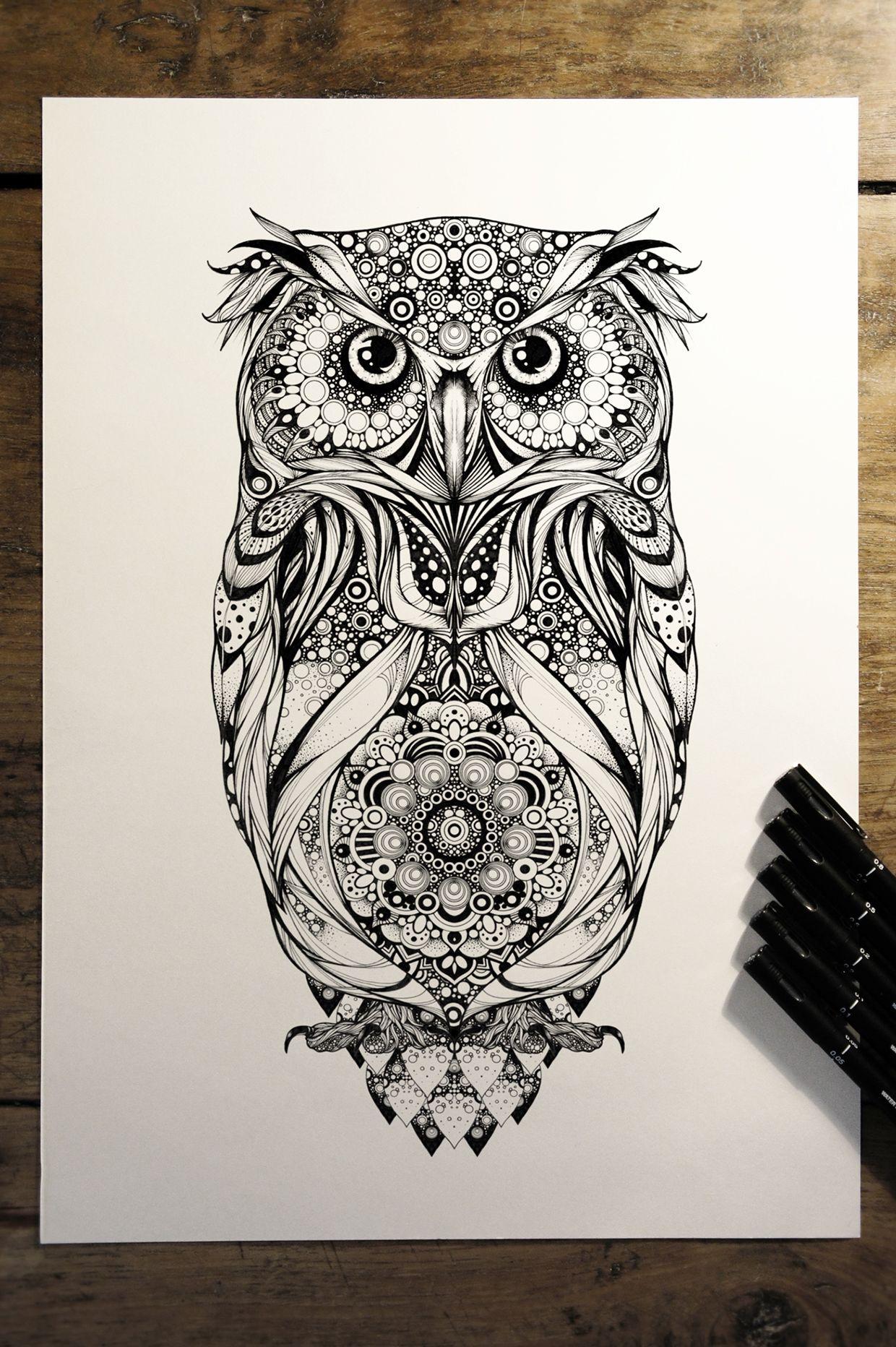 Buho Tatuaje Mandala spotted eagle owl' - commission for hoot watches on behance