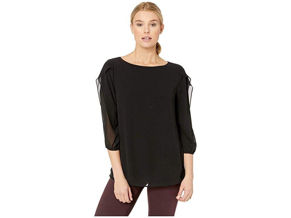 Calvin Klein Long Sleeve With Ruffle Detail Women's