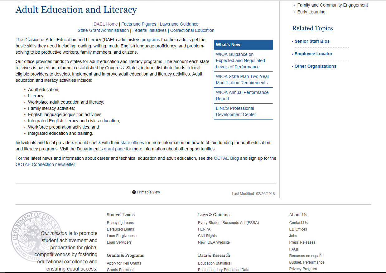 literacy resources Adult