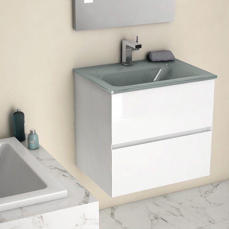 Kyoto L, Meuble salle de bain 61 cm blanc brillant, vasque verre argent    #salledebain #meuble  #design #style #deco #bathroom #bath #bathroomdesign #bathroomideas #blanc