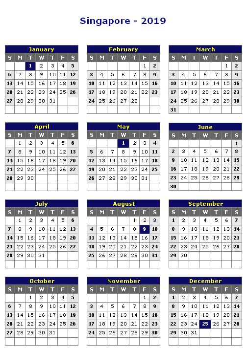 Singapore 2019 Vertical Calendar Calendar Printables Holiday Calendar Printable Calendar 2016
