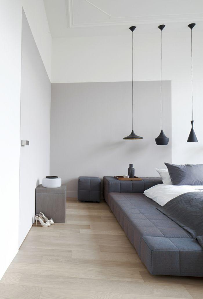 Schlafzimmer Grau Hellgraue Wände Modernes Bett Hängelampen Farbkontraste