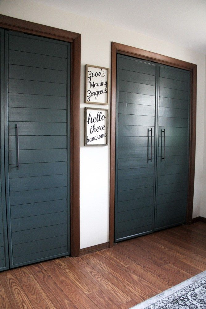 Love this DIY project from Bright Green Door Shiplap forest green closet doors So good - Solid Wood Closet Doors