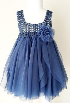 Indaco blu Impero Waist Baby abito in Tulle con abito elasticizzato Crochet Top.Tulle per ragazze con corpetto di pizzo all
