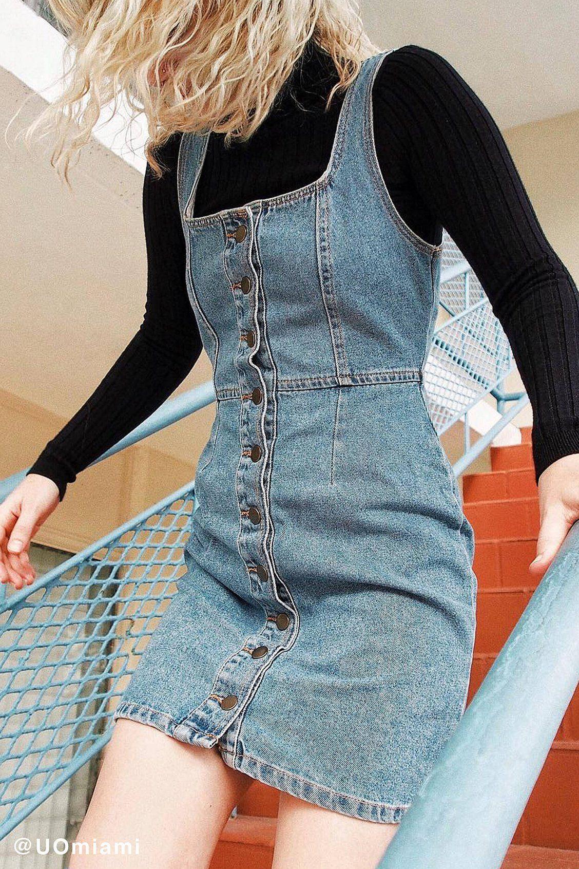 24ee7f9ca6f45 UO Button-Down Denim Mini Dress