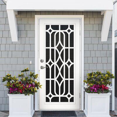 Titan Security Doors Essex White Surface Mount Aluminum Slab Security Door Door Orientation Righ In 2020 Security Door Design Security Screen Door Iron Security Doors